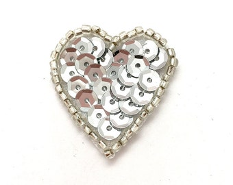 """Heart with Silver Sequins and Beads 1""""  -44079"""