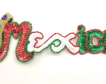 "Mexico Applique, Sequin Beaded, 9"" x 3.5""   -3000"