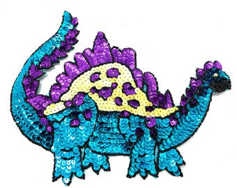 "Dinosaur Applique, Sequin Beaded, 9.5"" x 7.5""  -B249-0402"