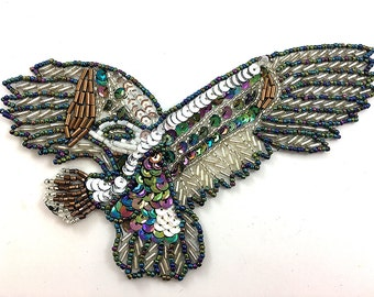 "Eagle Applique, Sequin Beaded, 6.5 x 3.5""""  -17297-0237"
