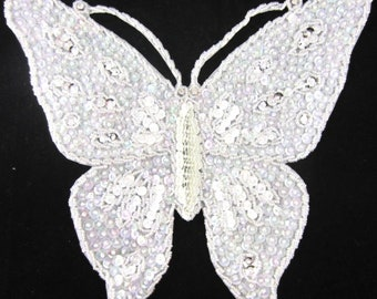 """Choice of Color Butterfly with Sequins and Beads and Rhinestone Eyes 10.5"""" X 9"""""""
