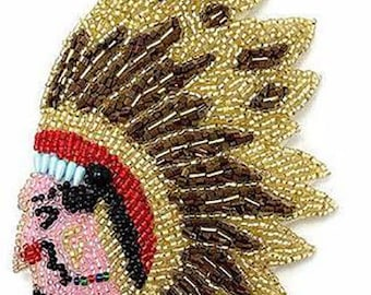 """Native American Indian Chief, All Beads, 5"""" x 4""""  -21199a"""