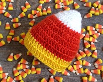 White Baby Hospital Hat Halloween Candy Corn Made in USA NICU Preemie Newborn