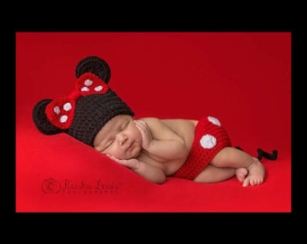 Newborn Minnie Mouse, Minnie Mouse Photo Prop, Newborn Photo Prop, Baby Girl Photo Prop 3 Month Photo Prop, 6 month Photo Prop