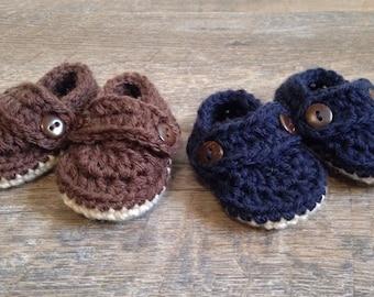 Newborn Crochet Loafers, Boy Shoes, Preemie baby shoes, Preemie Crochet Loafers, Newborn Booties, Baby Boy Boat Shoes,