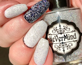 Snow Daze - Silver Holographic Nail Polish - Holo White Glitter Topper - Top Coat - Winter Solstice