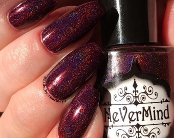Christmas Mass-acre - Burgundy Holographic Nail Polish - Maroon - Gothic Deep Red - Winter Solstice Collection