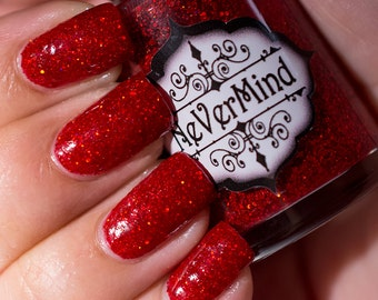 Cuprite - Red Holographic Glitter Nail Polish - Crimson Blood Ruby Holo Glitter Nail Lacquer - All That Glitters