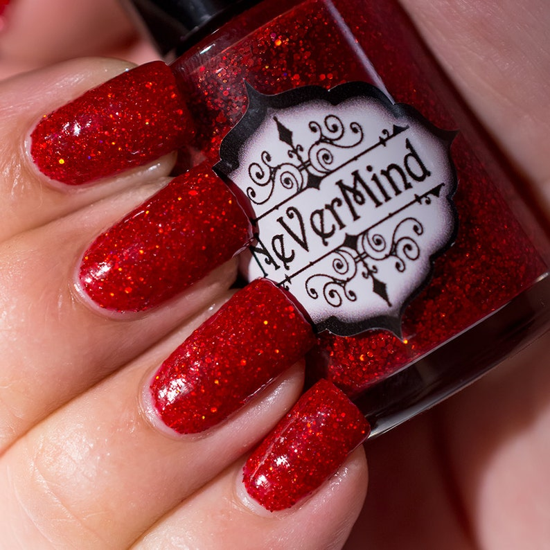 Red Holographic Glitter Nail Polish - Crimson Blood Ruby Holo - Cuprite