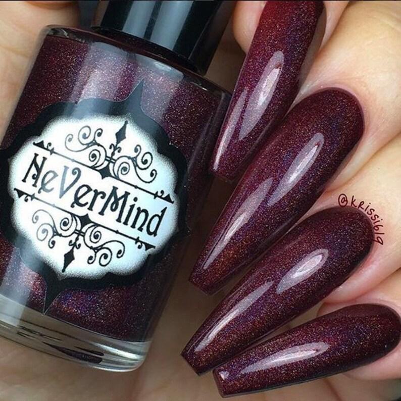 Burgundy Holographic Nail Polish Gothic Maroon Holo   Etsy