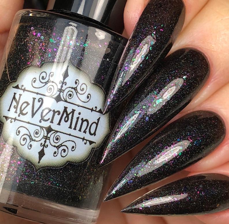 Black Holographic Nail Polish with Multichrome Flakes Holo   Etsy