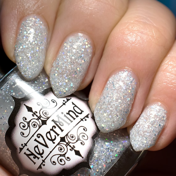 White Holo Glitter Nail Polish Silver Holographic | Etsy