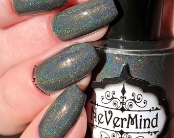 City Snow - Grey Holographic Nail Polish - Gray Holo - Winter Solstice
