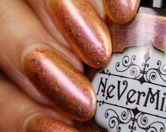 Penny Dreadful - Copper Holographic Nail Polish with Red/Pink Shimmer - Red Flake - Limited Edition