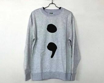 Semicolon Sweatshirt Sweater Jumper Pullover Men Women Ugly Christmas Sweater Christmas Funny Shirt