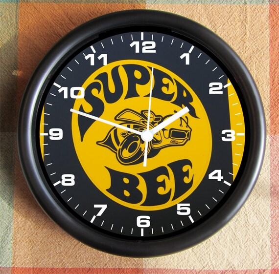 Dodge Super Bee Yellow Logo Big 10 Inch Black Wall Clock