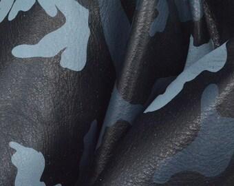 "Bold Blue Camo ""Fashionista"" Deer Tanned Leather Cow 8"" x 10"" Pre-cut 3-4oz DE-69828 (Sec. 7,Shelf 6,A)"