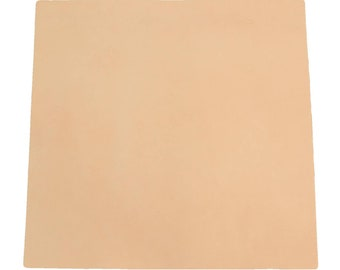 Pre-Cut Natural Leather Cow Hide Veg Tan 12 x 12 Project Piece 6-7 oz Smooth