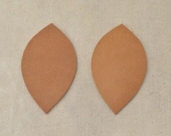 12pk-Leather Leaf Med Die Cut Oil Tanned Rustic Light Brown DIY Earrings DE-68844 (Section 10)