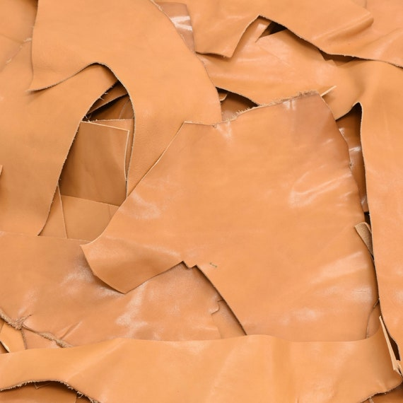 Scrap Goat Leather remnants 1 pound Off White 3-4 oz Grainy