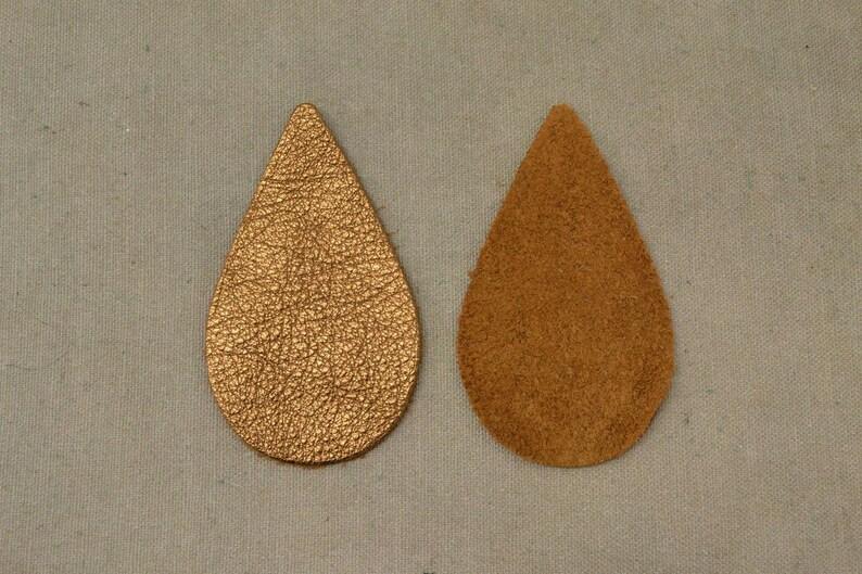 12pk-Leather Teardrop Large Die Cut MGM Grand Bronze MetallicVegasDIY Earrings DE-68445 Section-10