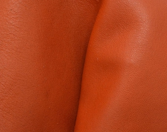 "Tangy Tangerine Orange Leather Cow Hide 4"" x 6"" Pre-cut 3-4 oz smooth DE-66843 (Sec. 3,Shelf 5,B,Box 2)"