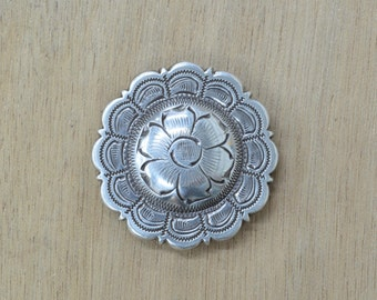 """Antique Silver Round Floral Western Concho 1 1/2"""" 36742"""