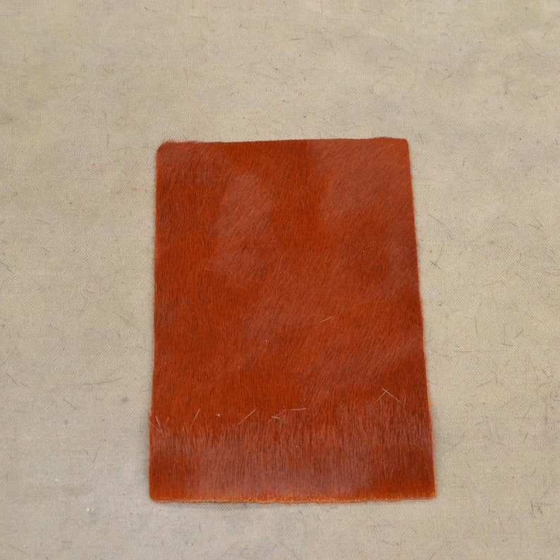"Solid Light Brown Leather Hair on Cow Hide 4/"" x 6/"" Pre-cut"