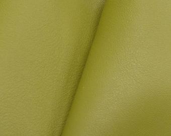 "Gallant Olive Green ""Signature""  Leather Cow Hide 4"" x 6"" Pre-cut 2-3 oz  flat grain DE-61627 (Sec. 8,Shelf 6,C,Box 1)"