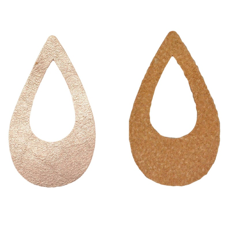 "12pk-Leather Micro Teardrop Die Cut 14K Rose Gold Metallic /""Vegas/"" DIY Earrings"