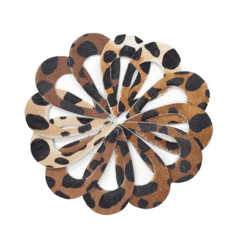 Leather Earrings Teardrop Mini Die Cut 12pk Hair On Brown//White Cheetah Mix DIY