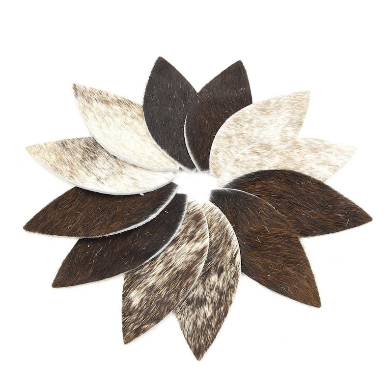Leather Earrings Rectangle Die Cut 12pk Hair On Brindle Mix DIY
