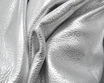 """Excaliburs Silver Metallic """"Vegas"""" Leather Cow Hide 8"""" x 10"""" Pre-cut  3 1/2 ounces grainy TA-26152 (Sec. 8,Shelf 4,A)"""