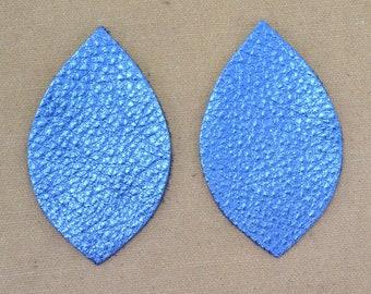 "12pk-Leather Leaf Medium Die Cut Electric Blue Metallic ""Vegas"" DIY Earrings DE-67788 (Section 10)"