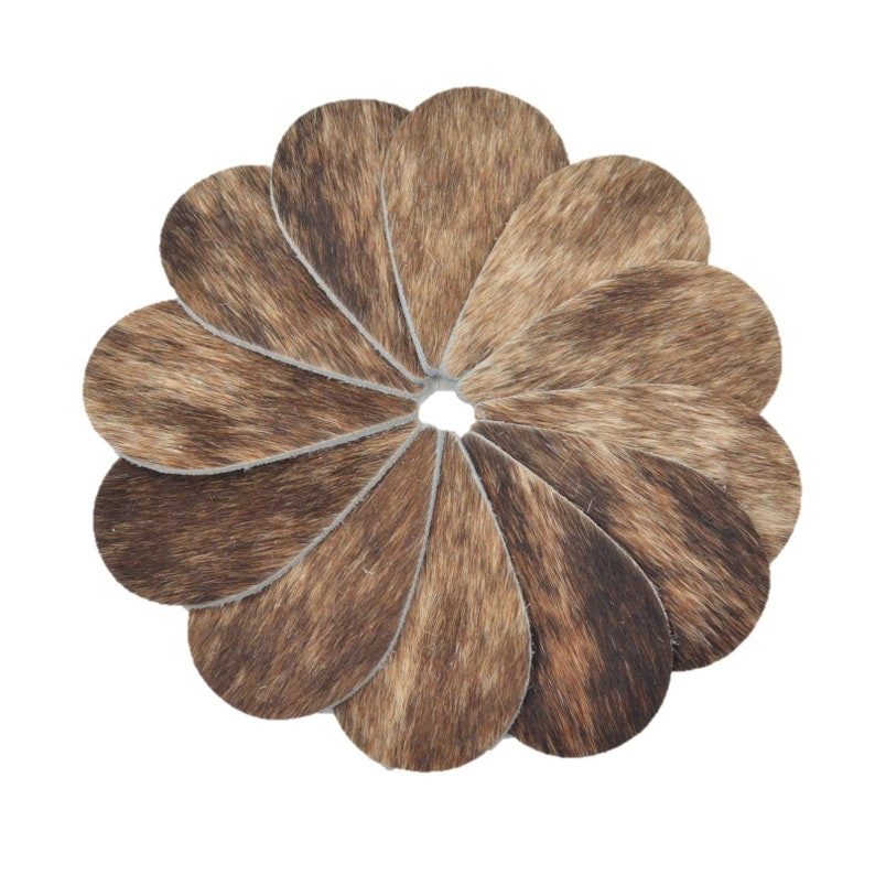Leather Earrings Medium Circle Die Cut 12pk Hair On Brown//White//Black Mix DIY
