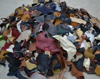 Scrap Leather Pieces, Miscellaneous Colors, 1 pound, 1-4 oz, Random assortment - 53437