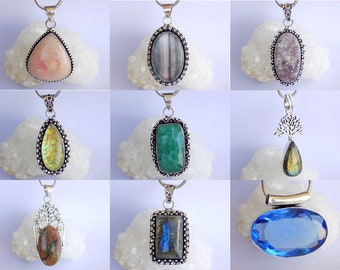 Gemstone Jewelry Gift For Her Multi Jasper Pendant Pendant With Chain Silver Plated Pendant Necklace Beautiful Gift Designer Jewelry