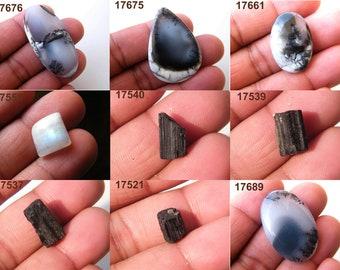 Smooth Dendritic Opal Cabochon, Raw Black Tourmaline, Moonstone Natural Gemstone, Semiprecious Cabochon, Loose Gemstone, Jewelry Supplies