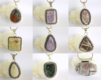 Designer Mix Gemstone Multi Pendant for gift to wife,friend,sister,Mother. 925 Silver Plated Beautiful Pendants Handmade Creation