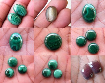 Natural Malachite Cabochon, Labradorite, Multi Sapphire, Semiprecious Malachite Jewelry Making Cabochon