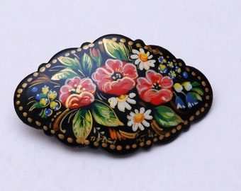 Handmade and handpainted Russian barrette hair clip with artist/'s signature inside Free Shipping plus free gift!