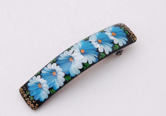 Handmade and handpainted Russian barrette floral hair clip Free Shipping plus free gift!