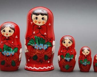 Russian Hohloma traditional matryoshka babushka russian nesting doll with strawberry 5 pc Free Shipping plus free gift!