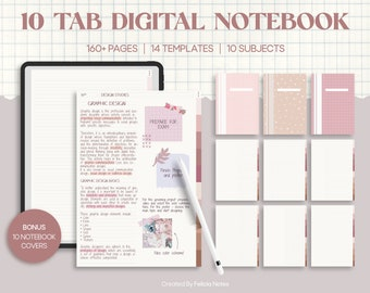 10 Tab Digital PDF Notebook for Note Taking, Digital & Printable Paper, A4 Format Pages, GoodNotes Digital Writing for Studying