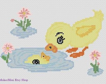 Duck and the Puddle - Cross Stitch Pattern