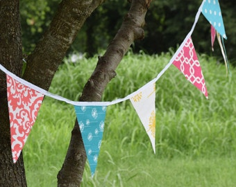 14 ft Extra Long BUNTING PENNANT FLAG Banner for wedding, birthday, anniversary, baby shower party supplies