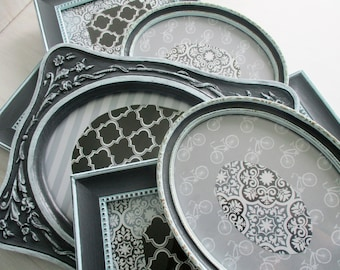 Picture Frames, Wall Frames, Photo Frames, Charcoal Gray and Blue Painted Picture Frames,  Set of 7 Vintage Frames, Ornate Frames