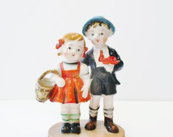 Vintage Hummel style figurine - Made in Occupied Japan - Boy & Girl Figurine - Hummelesque style boy and girl figurine