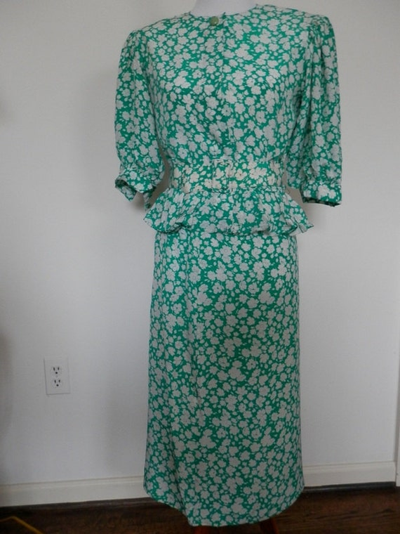1980s 2 Piece Silk Dress/ Maggie London by Jeannen