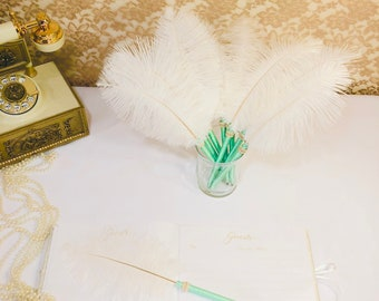 23e3cb47fe4 FEATHER PENS Mint Green Wedding Party Favor Guest Book Bridal Shower Favor  Bachelorette Party Decoration Mint Wedding Favor Pen Shower Decor